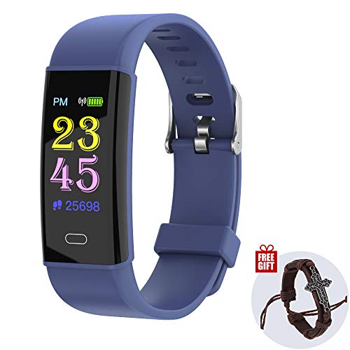 InnKoo Fitness Activity Tracker Watch, Pedometer, Smart Wristband, Steps Calories Counter for Kids Women Men, Waterproof Color Screen with Heart-Rate | Blood-Pressure | Sleep Monitor (Blue) - Pedometer Storage