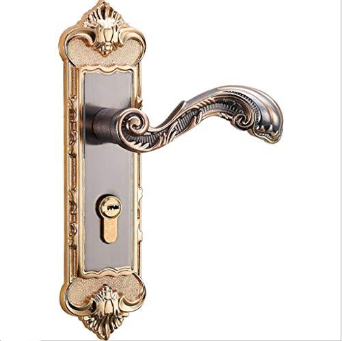 (WXIAN Panel Lock Handle Hardware Set,Interior Bedroom Wooden Door Lock,European Antique Aluminum Alloy)