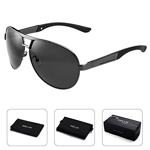 WELUK Mens Aviator Sunglasses Polarized Oversized Wide Frame Big for Men Driving - Frame Aviator Wide Sunglasses