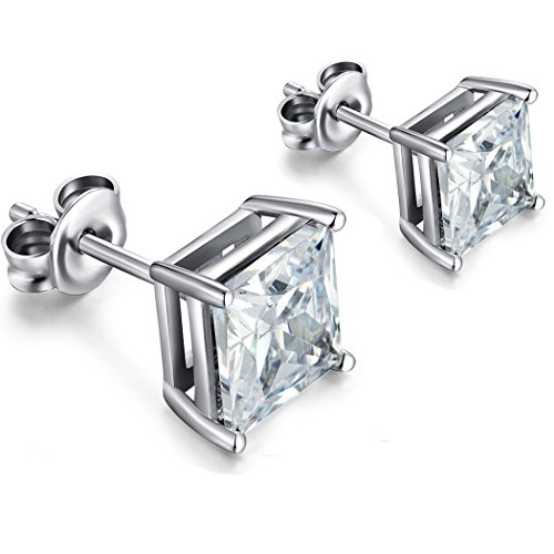 CZ Diamond Stud Earrings,925 Sterling Silver Stud Earrings,Princess Cut Cubic Zirconia Diamond Stud Earrings,Square Stud Earrings For Women/Men,5mm Hypoallergenic Silver Earrings
