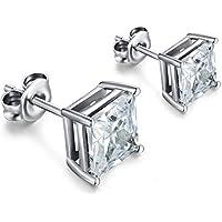 Silver Stud Earrings,Sterling Silver Princess Cut Square Stud Earrings,Square Cubic Zirconia Stud Earrings,Hypoallergenic Earrings,Women/Men Fashion Square Stud Earrings,Simple 7mm Square Earrings