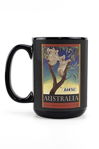 Qantas - Australia (artist: Mayo, Eileen) Australia c. 1953 - Vintage Advertisement (15oz Black Ceramic Mug - Dishwasher and Microwave Safe)