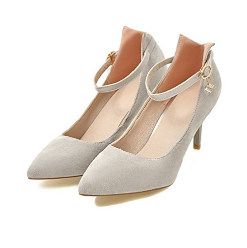 Odomolor Women's High-Heels Frosted Solid Buckle Pointed-Toe Pumps-Shoes, LightGray, 36