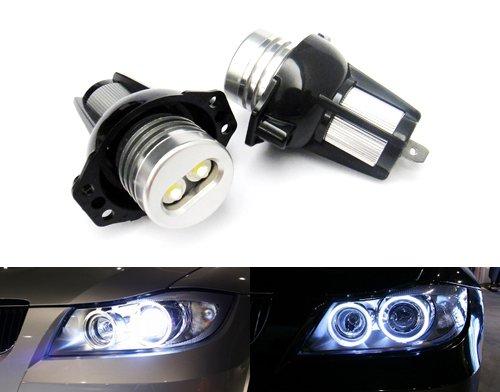 2x White LED Angel Eye Headlight Halo Ring Daytime Light DRL Canbus Bulb For E90 E91 3 Series RZG
