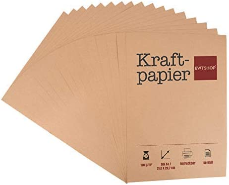 Papel kraft, 50hojas, DIN A4, cartón natural, alta calidad, marrón natural, cartón kraft de 170 g