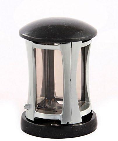 Grablaterne mit Sockel und Deckel Granit Schwedisch Schwarz Grablicht
