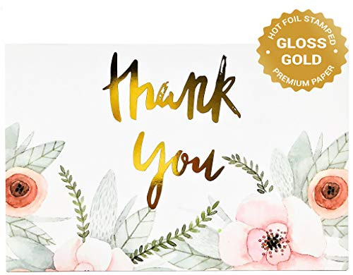 40 Floral Thank You Cards Bulk – Wedding, Bridal Shower, Baby Shower, Graduation and Any Occasions - Gold Foil Lettering on Premium Blank Note Card, 4x6 inches, with Envelopes Set (40-Card Pack)