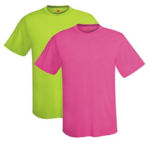 - Hanes mens 4 oz. Cool Dri T-Shirt(4820)-Safety Green/Wow Pink-S