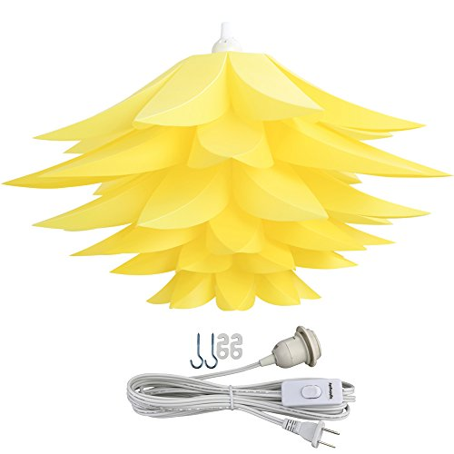 - Lightingsky Ceiling Pendant DIY IQ Jigsaw Puzzle Lotus Flower Lamp Shade Kit with 15 Feet Hanging Cord (Yellow)