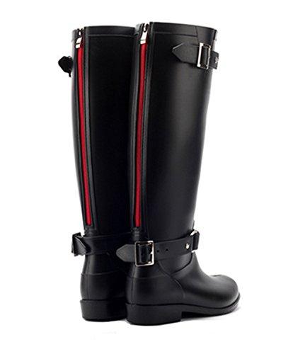 Bota agua, KENO Bota Impermeable Elegante para Mujer, Adecuada para Mal tiempo o Trabajo en Jardín, etc. - Negro, Talla 39 Negro/Rojo