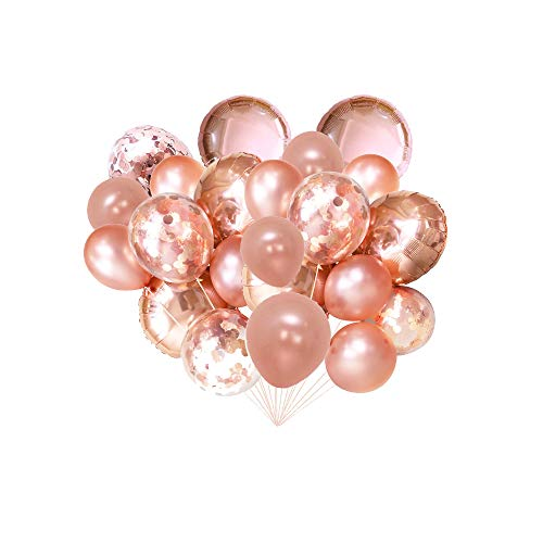 FONBALLOON PARTY Rose Gold Foil Confetti Balloon Bouquet for Wedding, Graduation, Birthday, Bridal Shower(20 -