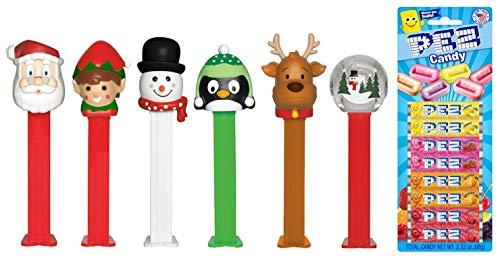 Pez Candy Christmas Dispenser Set: Santa Claus, Elf, Rudolf The Red Nosed Reindeer, Penguin, Snowman, Snow Globe and Candy Refill Bundle (6 Dispensers and 8 PEZ CandyRefills)
