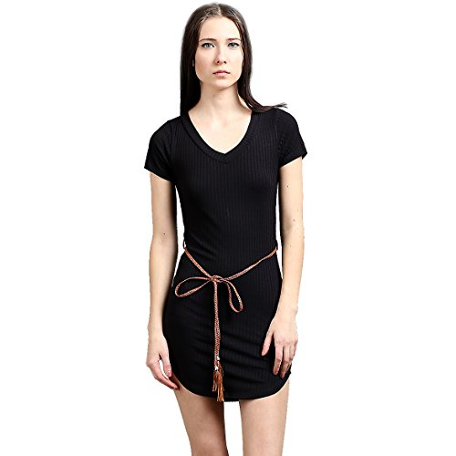 Color Swatch New Women's 8 x 5 Rib V Neck Short Sleeve with Belt Long Top Skinny Mini Dress L, - Swatch For Sale