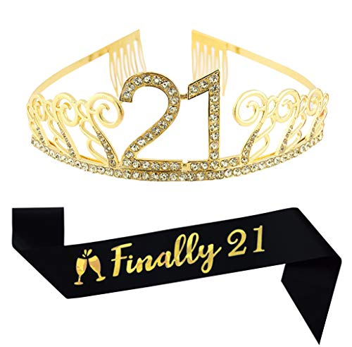 21st Birthday Gold Tiara and Sash, Glitter Satin Sash