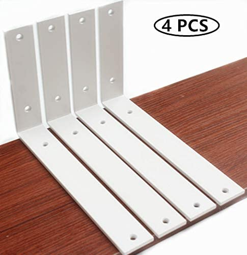 Metal Shelf Bracket Iron Shelf Brackets Shelf Supports with Screws 5mm Thick White Rustic Shelf Bracket Industrial Shelf Bracket Shelf Brackets 4 Pack L10 x H 6 x W 1.5 Decorative Shelving