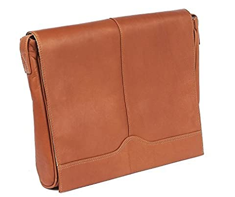 Claire Chase Leather Laptop Messenger Satchel, Computer Bag in Saddle - Claire Chase Leather Messenger