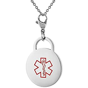 Stainless Steel Medical Alert ID Tag with Lobster Clasp Round Shape 7/8 inch