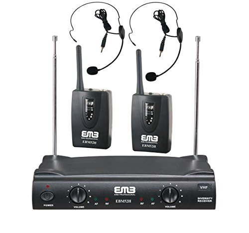 EMB VHF EBM52H Professional Dual Wireless Headset Microphone System Headset Vhf System