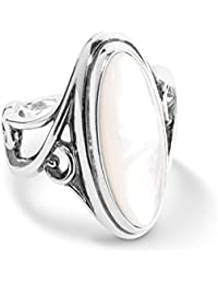 Sterling Silver & White Mother of Pearl Elongated Ring
