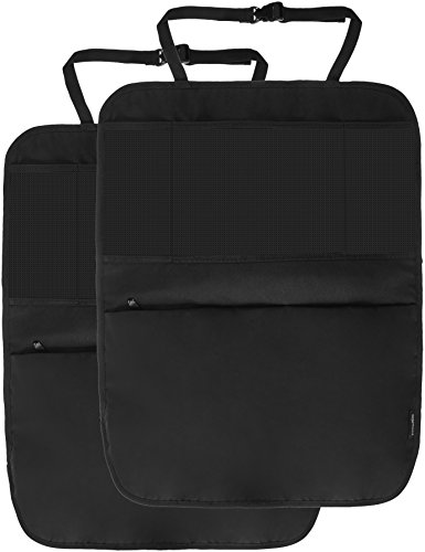 AmazonBasics Waterproof Car Seat Protector, Kick Mat and Back Seat Storage Organizer with 3 pockets including iPad/tablet holder for hands-free viewing