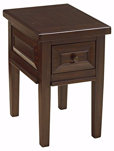 Ashley Furniture Signature Design   Hindell Park Chair Side End Table   1 Drawer   Vintage Casual   Rustic Brown