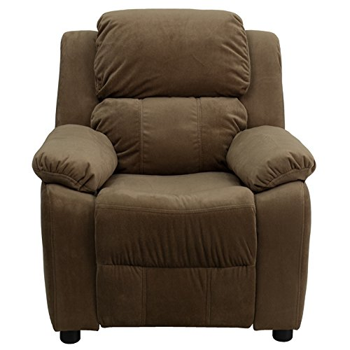 Offex OF-BT-7985-KID-MIC-BRN-GG Deluxe Heavily Padded Contemporary  Microfiber Kids Recliner with Storage Arms, Brown by Offex