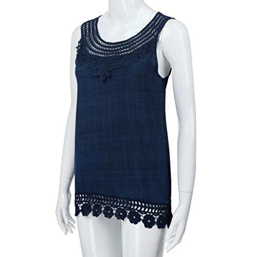 sans Shirt Bleu gilet Loose Tops manches taille Femmes la Pure Blouse O dentelle Tefamore T couleur Plus cou EqxnwAg1T6