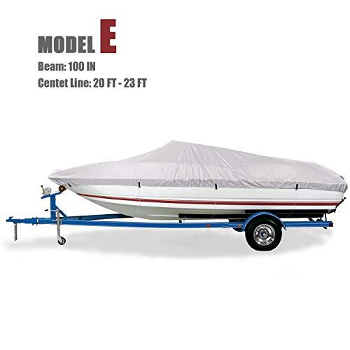 GOODSMANN Trailerable Marine Grade Boat Cover Heavy Duty 150D Fits V-Hull Fishing & Pro-Style Bass Boats E Fits 20'-23' V-Hull Boats, Beam Width to 100
