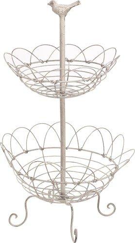 Antiqued White Metal Fruit Basket with Bird Design - Two Tier