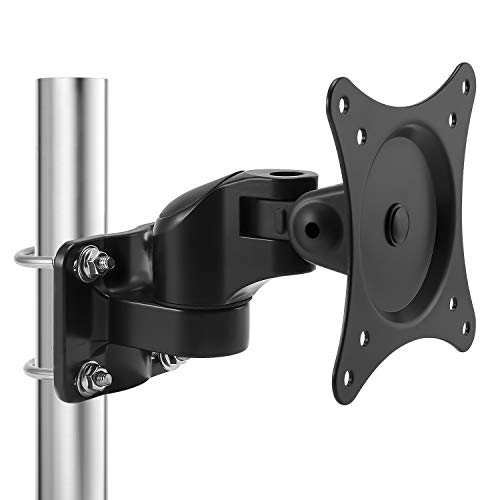 Loutytuo Universal Monitor Pole Mount Bracket Without Punching Fully Adjustable Stand for for Diameter Pole Mount with VESA 75/100, Fits Screen up to 27 inch