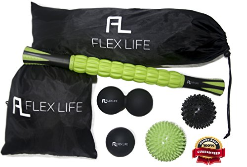 Flex Life Massage Ball Set & Muscle Roller Stick Massager - 2 Spiky Ball, 1 Lacrosse Ball, 1 Peanut Ball, (1) 18'' Roller Stick. Great Rollers For Plantar Fasciitis, Mobility, Recovery, Soreness by Flex Life (Image #9)