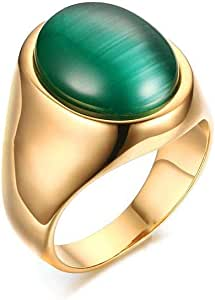 Ring of gold and green stones size 9