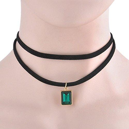 ERAWAN Vintage Gothic Black Velvet Square Crystal Charm Beaded Pendant Choker Necklace EW sakcharn (Green)