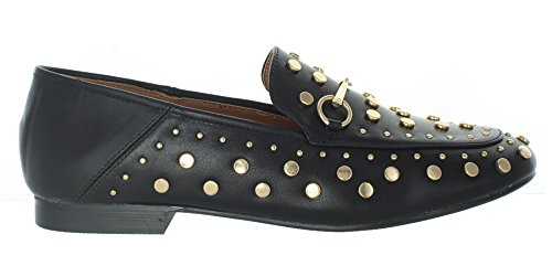 Urban Heels Kandi-06 Womens Spikes Stud Little Heel Pointed Toe Flats Shoes Black 9vX3ebll9