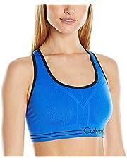 Calvin Klein Performance Women's Reversible Medium Impact Seamless Bra, Black/Neon Calypso, Large