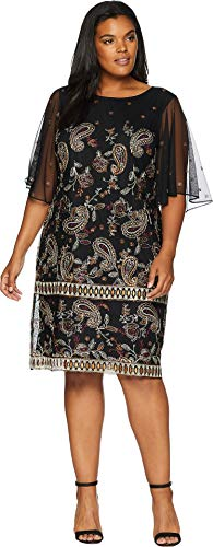 Shift Dress Embroidered Black (Adrianna Papell Women's Plus Size Paisley Embroidered Shift Dress Black Multi 14 W)
