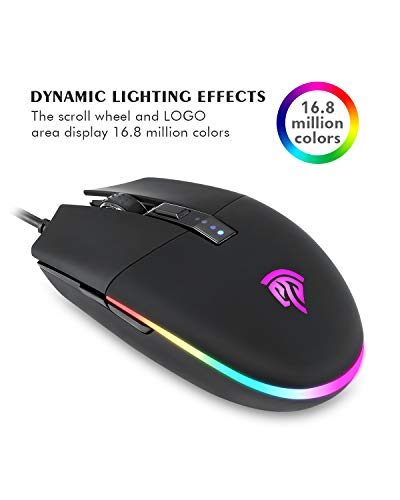 Gaming Mouse, EasySMX V50 PC Gaming Mouse, Computer Mouse, 22 Preset Macros for PUBG, RGB LED Gaming Mouse, 5 Programmable Buttons, 5 DPI Settings, Cycle & Breathing Lighting