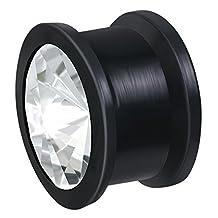 """Body Jewelry Black Soft Silicone Stretcher Expander Ear Plug with Clear CZ 3/4"""""""
