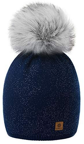 de Beanie Forro Grande Sombrero de azul mujer invierno falso Bobble lana de Snowboard de nieve Cap con Color forro 4sold la de polar Pom punto marino Ski I7TXPTU