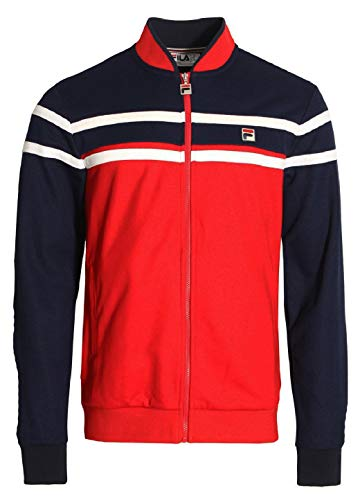 Fila Vintage Naso Chest Stripe Track Jacket | Chinese Red/Peacoat Large Chinese Red ()