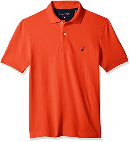 Nautica Men's Classic Short Sleeve Solid Cotton Pique Polo Shirt, Spicy Orange, X-Large
