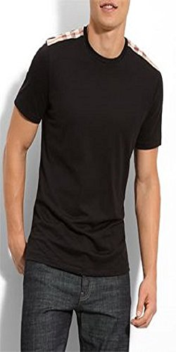 Burberry Brit men's black check shoulder patch t-shirt - Black Burberry