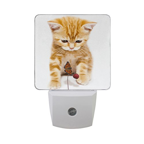 Naanle Set of 2 Kitty Watch Butterfly Strawberry Auto Sensor LED Dusk to Dawn Night Light Plug in Indoor for Adults