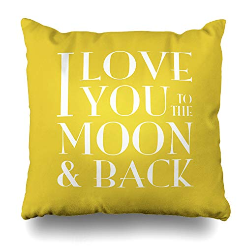 InnoDIY Throw Pillow Covers Yellow I Love You to The Moon Pillowslip Square Size 16 x 16 Inches Cushion Cases Pillowcases
