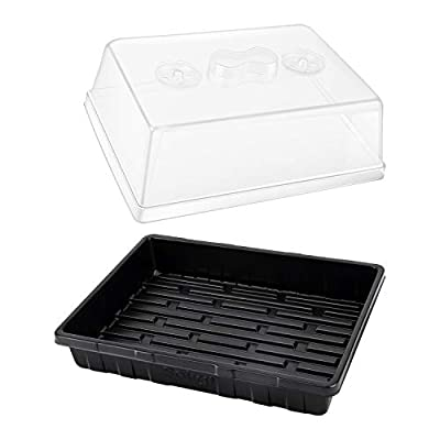 3-Set Strong Plant Growing Trays with Humidity Domes for Seed Starting, Germination and Seedling Propagation, Holds 144 Cells in Total