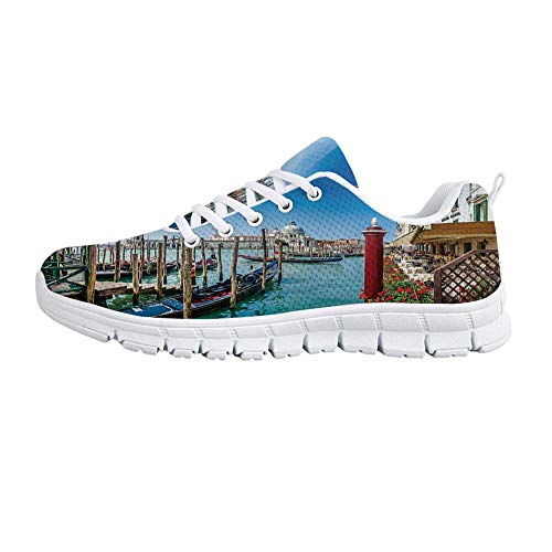 t Decor Comfortable Sports Shoes,Gondola on Canal Grande Basilica di Santa Maria Della Salute Sunny Day in Venice for Men & Boys,US Size 7 ()