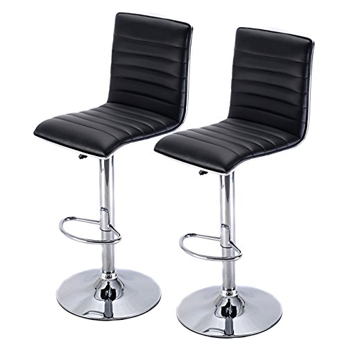 Set of 2 Modern Swivel Bar Stool Hydraulic Adjustable Height Office Kitchen Diner Chair Black - Toronto Tax Canada Sales