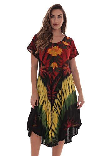 Riviera Sun Rasta Short Sleeve Umbrella Dresses for Women 21931-2X - Net Tube Dress
