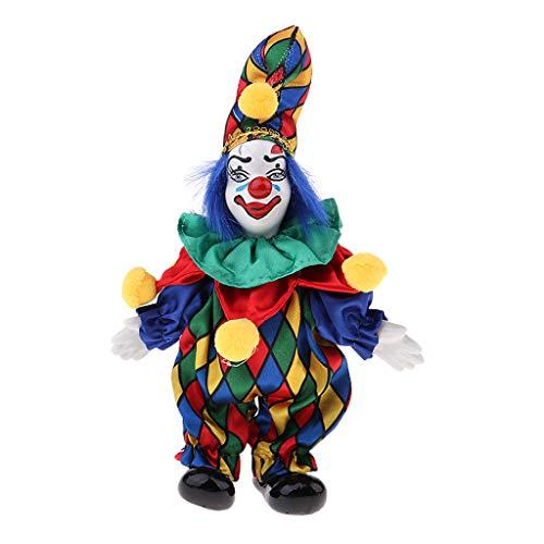 (SM SunniMix 6inch Funny Clown Man Doll Wearing Colorful Costume Suit Halloween Ornament)
