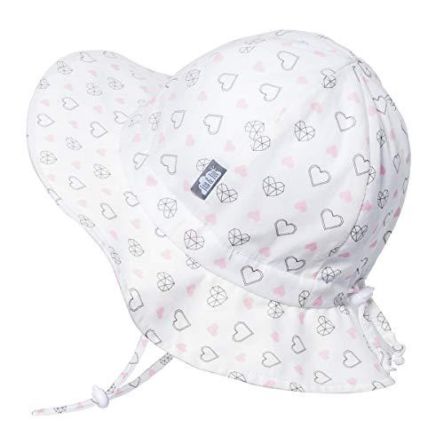 Kids Foldable Summer Sun-Hat 50 UPF, Drawstring Adjustable, Stay-on Chin Strap (L: 2-5Y, Diamond Hearts)